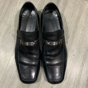 Ermeneglido Zegna Black Leather Insignia Loafers